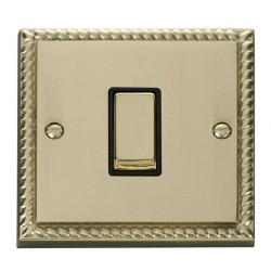 Click Deco Georgian Cast Brass 1 Gang Intermediate Ingot 10AX Switch with Black Insert