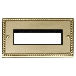 Click Deco Georgian Cast Brass 2 Gang Plate 6 In-Line Aperture with Black Insert