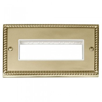 Click Deco Georgian Cast Brass 2 Gang Plate 6 In-Line Aperture with White Insert