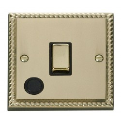 Click Deco Georgian Cast Brass 20A 1 Gang Double Pole Ingot Switch With Flex Outlet with Black Insert