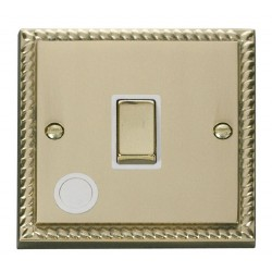 Click Deco Georgian Cast Brass 20A 1 Gang Double Pole Ingot Switch With Flex Outlet with White Insert