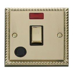 Click Deco Georgian Cast Brass 20A 1 Gang Double Pole Ingot Switch With Flex Outlet And Neon with Black Insert