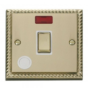 Click Deco Georgian Cast Brass 20A 1 Gang Double Pole Ingot Switch With Flex Outlet And Neon with White Insert