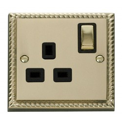 Click Deco Georgian Cast Brass 1 Gang 13A Double Pole Ingot Switched Socket Outlet with Black Insert