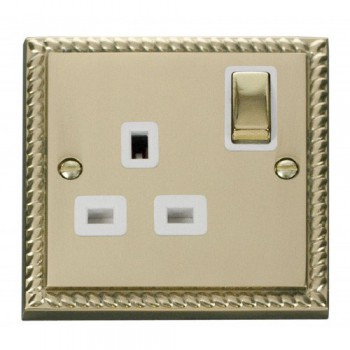 Click Deco Georgian Cast Brass 1 Gang 13A Double Pole Ingot Switched Socket Outlet with White Insert