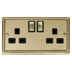 Click Deco Georgian Cast Brass 2 Gang 13A Double Pole Ingot Switched Socket Outlet with Black Insert