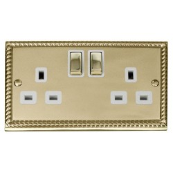 Click Deco Georgian Cast Brass 2 Gang 13A Double Pole Ingot Switched Socket Outlet with White Insert