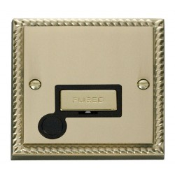 Click Deco Georgian Cast Brass 13A Fused Ingot Connection Unit With Flex Outlet with Black Insert