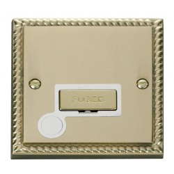 Click Deco Georgian Cast Brass 13A Fused Ingot Connection Unit With Flex Outlet with White Insert
