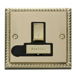 Click Deco Georgian Cast Brass 13A Fused Ingot Switched Connection Unit With Flex Outlet with Black Insert