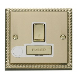 Click Deco Georgian Cast Brass 13A Fused Ingot Switched Connection Unit With Flex Outlet with White Insert