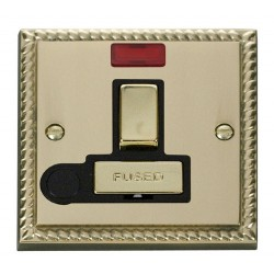 Click Deco Georgian Cast Brass 13A Fused Ingot Switched Connection Unit With Flex Outlet with Neon with Black Insert