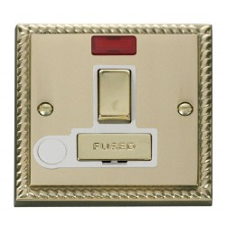 Click Deco Georgian Cast Brass 13A Fused Ingot Switched Connection Unit With Flex Outlet with Neon with White Insert