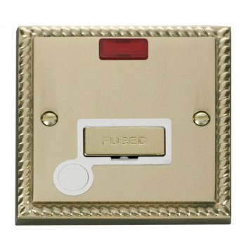 Click Deco Georgian Cast Brass 13A Fused Ingot Connection Unit With Flex Outlet with Neon with White Insert