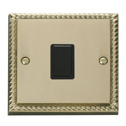 Click Deco Georgian Cast Brass 20A 1 Gang Double Pole Switch with Black Insert