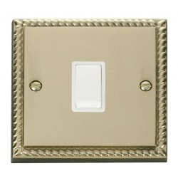 Click Deco Georgian Cast Brass 20A 1 Gang Double Pole Switch with White Insert