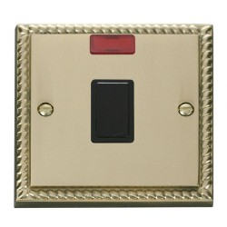 Click Deco Georgian Cast Brass 20A 1 Gang Double Pole Switch with Neon with Black Insert