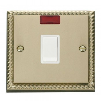 Click Deco Georgian Cast Brass 20A 1 Gang Double Pole Switch with Neon with White Insert