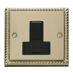 Click Deco Georgian Cast Brass 13A Fused Switched Connection Unit with Black Insert