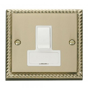 Click Deco Georgian Cast Brass 13A Fused Switched Connection Unit with White Insert