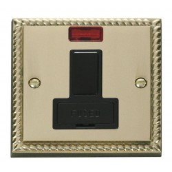 Click Deco Georgian Cast Brass 13A Fused Switched Connection Unit With Neon with Black Insert