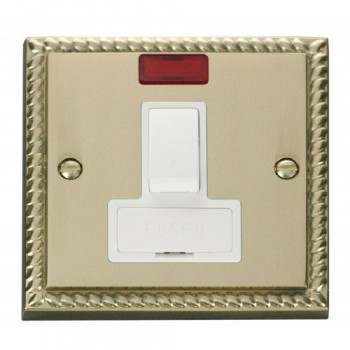 Click Deco Georgian Cast Brass 13A Fused Switched Connection Unit With Neon with White Insert