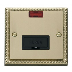 Click Deco Georgian Cast Brass 13A Fused Connection Unit With Neon with Black Insert