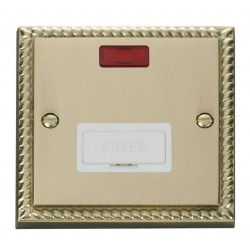 Click Deco Georgian Cast Brass 13A Fused Connection Unit With Neon with White Insert