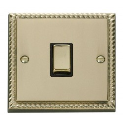 Click Deco Georgian Cast Brass 20A 1 Gang Double Pole Ingot Switch with Black Insert