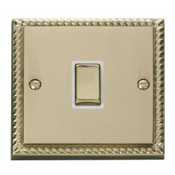Click Deco Georgian Cast Brass 20A 1 Gang Double Pole Ingot Switch with White Insert