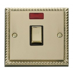 Click Deco Georgian Cast Brass 20A 1 Gang Double Pole Ingot Switch with Neon with Black Insert