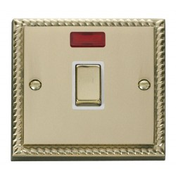 Click Deco Georgian Cast Brass 20A 1 Gang Double Pole Ingot Switch with Neon with White Insert