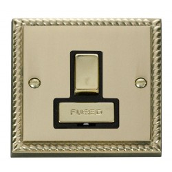 Click Deco Georgian Cast Brass 13A Fused Ingot Switched Connection Unit with Black Insert