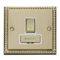 Click Deco Georgian Cast Brass 13A Fused Ingot Switched Connection Unit with White Insert