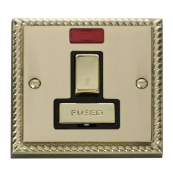 Click Deco Georgian Cast Brass 13A Fused Ingot Switched Connection Unit With Neon with Black Insert
