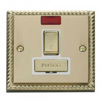 Click Deco Georgian Cast Brass 13A Fused Ingot Switched Connection Unit With Neon with White Insert