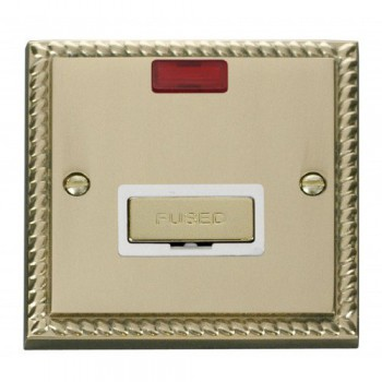 Click Deco Georgian Cast Brass 13A Fused Ingot Connection Unit With Neon with White Insert