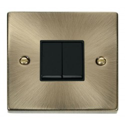 Click Deco Victorian Antique Brass 2 Gang 2 Way 10AX Switch with Black Insert