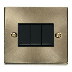 Click Deco Victorian Antique Brass 3 Gang 2 Way 10AX Switch with Black Insert