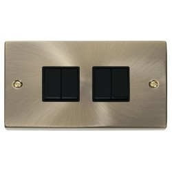 Click Deco Victorian Antique Brass 4 Gang 2 Way 10AX Switch with Black Insert