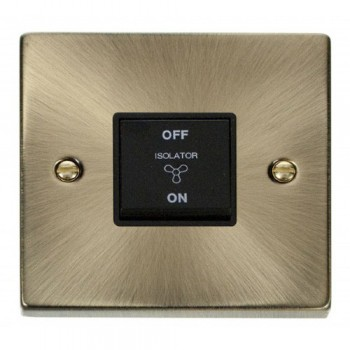 Click Deco Victorian Antique Brass 10A 1 Gang 3 Pole Fan Isolation Switch with Black Insert