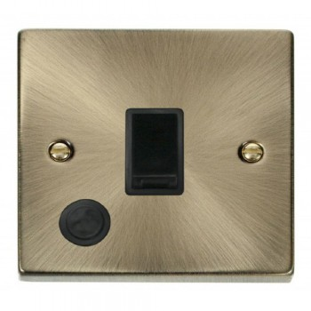 Click Deco Victorian Antique Brass 20A 1 Gang Double Pole Switch With Flex Outlet with Black Insert