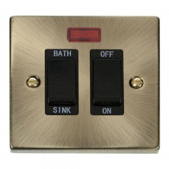 Click Deco Victorian Antique Brass 20A Double Pole Sink/Bath Switch with Black Insert