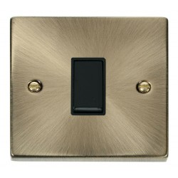 Click Deco Victorian Antique Brass 1 Gang Intermediate 10AX Switch with Black Insert