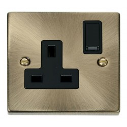 Click Deco Victorian Antique Brass 1 Gang 13A Double Pole Switched Socket Outlet with Black Insert