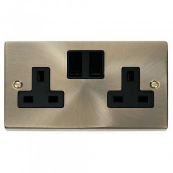 Click Deco Victorian Antique Brass 2 Gang 13A Double Pole Switched Socket Outlet with Black Insert