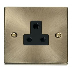 Click Deco Victorian Antique Brass 5A Round Pin Socket Outlet with Black Insert