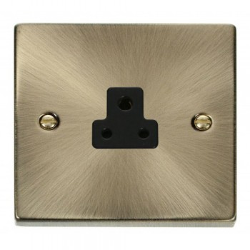 Click Deco Victorian Antique Brass 2A Round Pin Socket Outlet with Black Insert