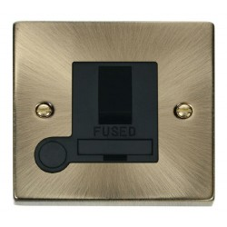 Click Deco Victorian Antique Brass 13A Fused Switched Connection Unit With Flex Outlet with Black Insert