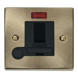 Click Deco Victorian Antique Brass 13A Fused Switched Connection Unit With Flex Outlet with Neon with Black Insert